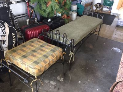 Wrought Iron Benches with cushions