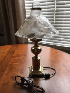 Brass Bedside Lamp with Chimney and Glass Shade**Excellent Condition**# 1