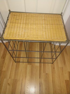 Wrought iron wicker top table
