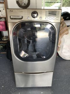 LG front load dryer gas with pedestal