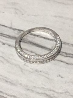 3 Sided Simulated Diamond 925 Sterling Silver Wedding Band Ring Size 7