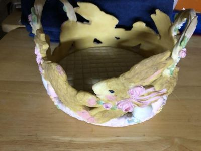 New resin Easter basket bowl with bunny rabbits 7 diameter x 5 high Cross posted - no holds.