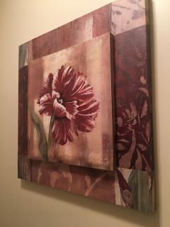 Two layer canvas flower picture