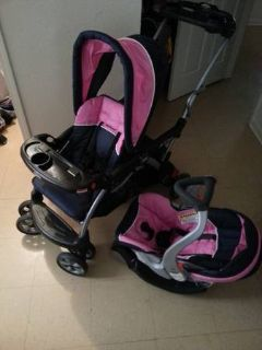 baby trend sit n stand double stroller and matching infant carseat