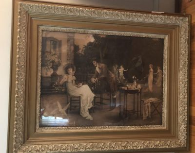 Large Antique print and Frame