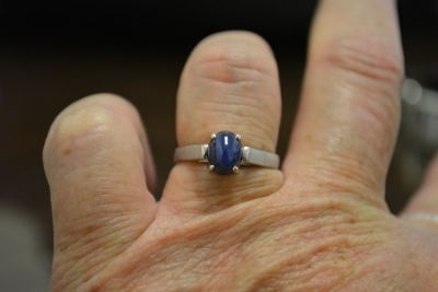 Silver Star Sapphire Ring Size 7