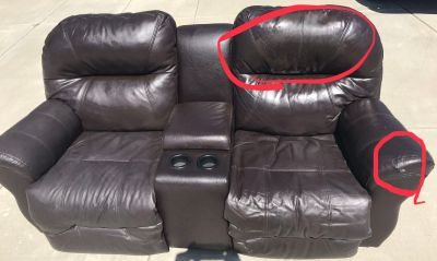 FREE Electric Reclining Leather Loveseat. Must be gone today.