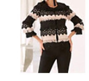 High End Boutique Black And White Crochet Lace Jacket