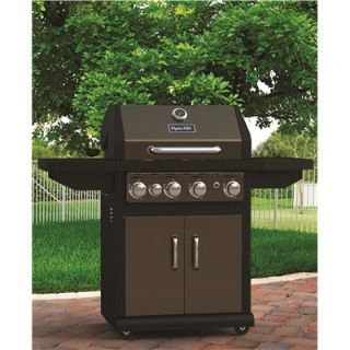 NEW-Dyna-Glo 4-Burner Propane Gas Grill in Bronze with Side Burner