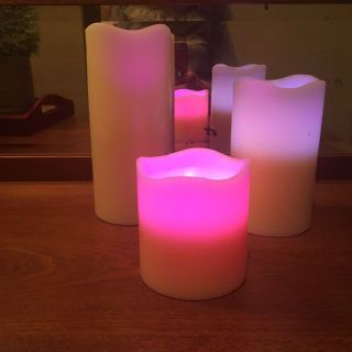 Set of 3 battery-operated color-changing wax candles