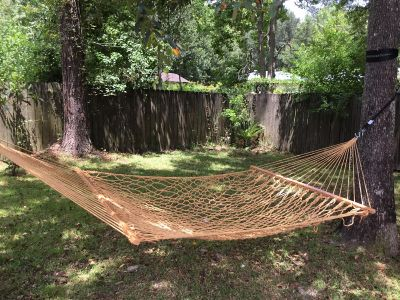 Rope Double Hammock hung for first time for pictures-Hammock only tree straps and S hooks not included *crossposted