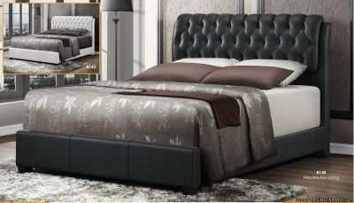 Upholstered Queen Size Black Bed In Leather, Furniture Sale, Home Mattress & Furniture, Visit Us