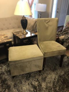 Green Ottoman and chair