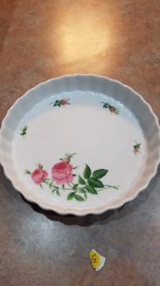 White Floral Glass Serving Dish