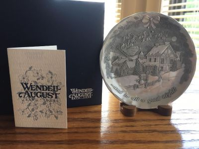 Wendell August Holiday Pewter Plate with Stand
