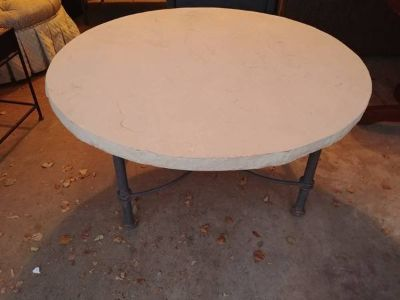 Cream natural stone outdoor Indoor round table