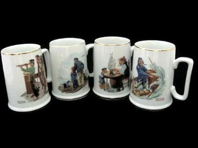 Norman Rockwell Museum Mugs 1985 collection, set of 4