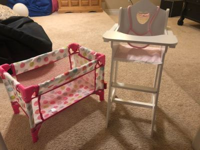 Baby doll bed and high chair
