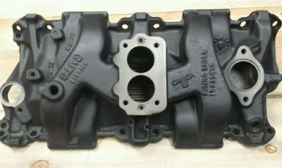 Buy Brzezinski racing cast iron 2bbl undercover sbc 350 intake manifold nascar imca1 motorcycle in Berlin, Connecticut, United States, for US $675.00