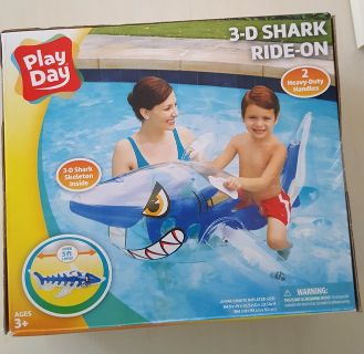 3-D Shark Ride-on Floatable Toy 5 Feet Long With Handles Play Day