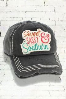 Boutique Distressed Black 'SWEET, SASSY, & SOUTHERN' Cap