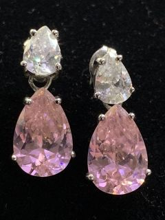 925 white and pink Bling earrings