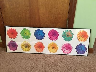 Flower picture in black poster frame