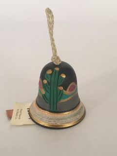 New! Tesa by Maack Co. Native American Southwestern Hand Painted Saguaro Pottery Bell