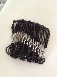 Vintage Antique multi layer black beads bracelet