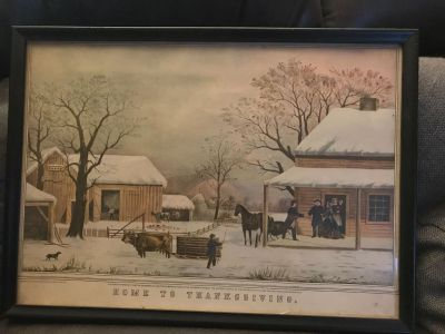 Vintage Currier and Ive's framed lithograph- Home To Thanksgiving. Such a pretty Thanksgiving decoration. Original wooden frame. 15x11
