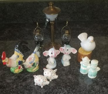 6 sets of antique salt and pepper shakers