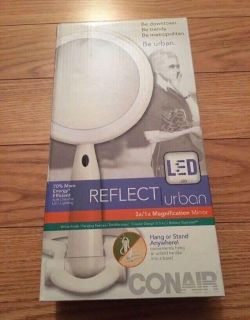 New Conair Reflect Urban LED Double Sided Mirror with 3X/1X Magnification. Hang or Stand Anywhere.