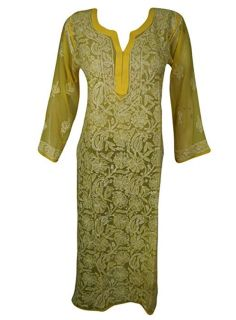 Women's Long Tunic Yellow Embroidered Bikini Cover Up S