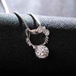 Real 925 Sterling Silver Cat Pendant Necklace