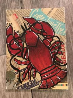 Come Together Crawfish 6 x8 wood frame canvas, created by me.