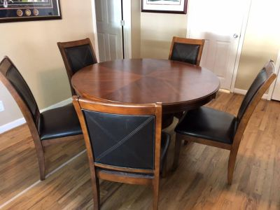 Solid wood 54 round table and 5 chairs