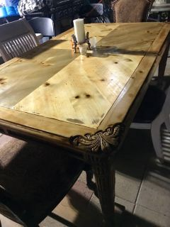Beautiful table real wood with four chairs