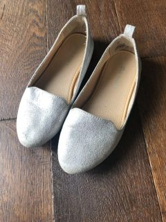 Girls Silver Loafers Shoes Size 12