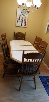 Wood and Tile Dining Room Table and Chairs