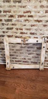 """Handmade Chicken Wire and 6 Hook Buletin Board. 35"""" L x 32"""" H. Hangs by 2 Hooks on Back. Has been WhiteWashed."""