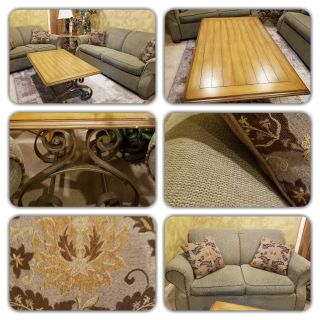 Sofa, Loveseat, center and side coffee table set