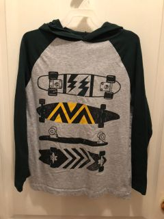 CRAZY 8: Blue and Gray Hooded Skateboard Shirt