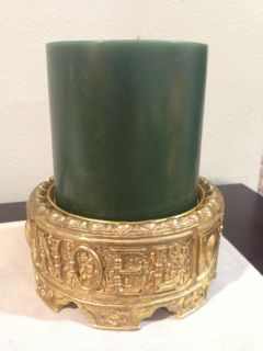 """Extra Large ( 6x6 ) Bayberry Candle on 8"""" Noel Gold Base"""