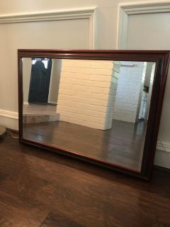 """Beveled Wall Mirror, mahogany frame-Excellent condition 40""""x28"""