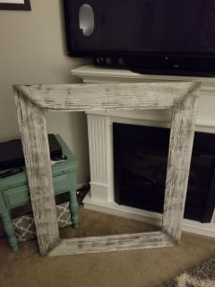 Large farmhouse style distressed picture frame without glass