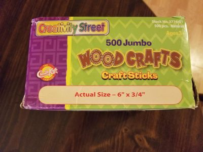 """NEW 500 count box of 6 inch """"popsicle"""" craft sticks"""