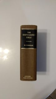 The Emphasized Bible. By Joseph Bryant Rotherham. Kregel Publications, 1st pub. 1959. Reprinted 1974. Ave. online price w/shipping is $37.00