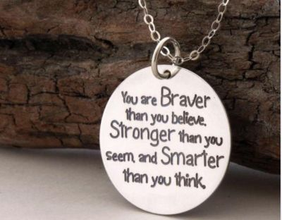 New You Are Braver Hand Stamped Necklace