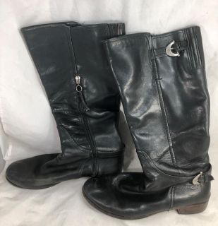 UGG 1921 Amberlee 11 Black Sheepskin Buckle Knee High Equestrian Riding Boots