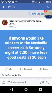 4 tickets to tomorrow night's soccer game in Nashville, $70 for all 4
